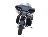 Motorcycle. Black, brilliant motorcycle the front view royalty free stock photo