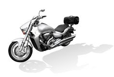 Motorcycle. Silver Motorcycle with shadow on white Royalty Free Stock Photos