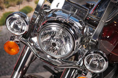 Motorcycle. A close up view of the headlights of a modern motorcycle royalty free stock photos