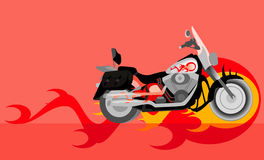 Motorcycle. Vector image of motorcycle with flame Stock Photo