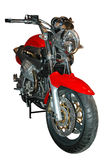 Motorcycle. Red classic vintage motorcycle by front Royalty Free Stock Photography