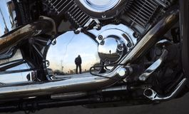 Motorcycle. Part of a motorcycle with reflections Royalty Free Stock Image