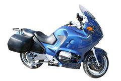 Motorcycle. Blue motorcycle isolated on white Stock Photos