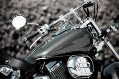 Motorcycle. Black and White shiny chrome Royalty Free Stock Image