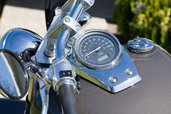Motorcycle. Speedo and gas tank on motorcycle Royalty Free Stock Photos