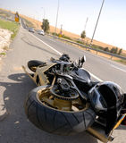 Motorcycle accident Stock Image