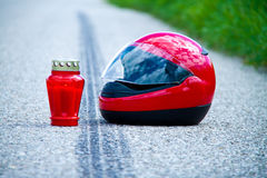Motorcycle accident. Skid mark on road traffic stock photo