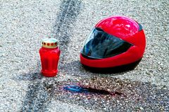 Motorcycle accident. Traffic accident Royalty Free Stock Images