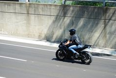 Motorcycle in action Royalty Free Stock Images