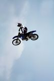 Motorcycle in the air Royalty Free Stock Photo