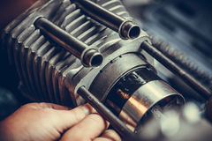 Motorcycle air-cooled cylinder Stock Photography
