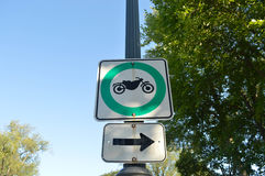 Motorcycle allowed road sign. In Quebec, Canada Royalty Free Stock Image