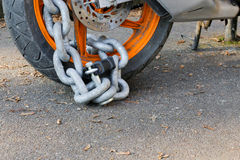 Free Motorcycle Anti-theft Chain With Padlock Security Lock On Rear W Royalty Free Stock Image - 84819176