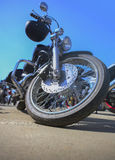 Motorcycle on asphalt against  sky Stock Photography