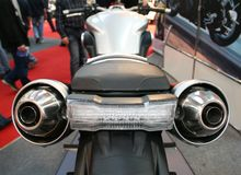 Motorcycle back. Back view of o cruiser motorcycle with two exhaust pipes stock images