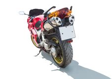 Motorcycle on the back isolated. On a white background stock photography