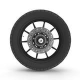 Motorcycle Back Wheel on white. 3D illustration Stock Photography