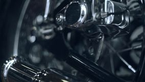 Motorcycle background. Component wheels of vintage motorbike. Motorcycle custom. Motorcycle background. Close up of retro motorcycle brake system. Disk brake stock footage