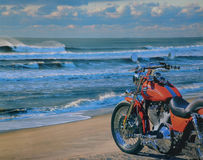 Motorcycle at Beach Stock Photo