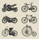 Motorcycle and bicycle icons Stock Photos