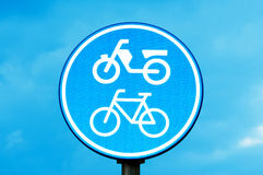 Motorcycle and bicycle lane sign Stock Photos