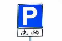 Motorcycle and bicycle parking sign Royalty Free Stock Photo