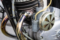 Motorcycle Bike Engine Closeup Exhaust Pipes Stock Photo