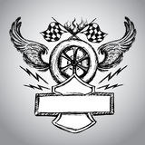 Motorcycle bike label. With wings, flames and flag vector illustration Royalty Free Stock Photos