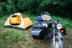 Motorcycle bike with sidecar in forest Stock Images