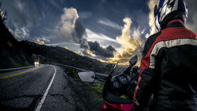 Motorcycle Biker on a Scenic Road royalty free stock photography