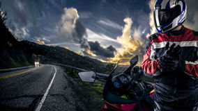 Motorcycle Biker on a Scenic Road royalty free stock photo