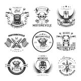 Motorcycle or bikers club logo templates. For bike motor racing of skull and checkered finish flag, motorcycle piston and helmet wings for speed races. Vector Stock Photo