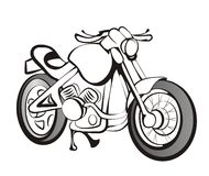 Motorcycle in black lines Royalty Free Stock Image