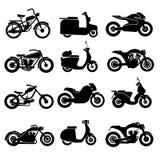 Motorcycle black vector icons set Stock Photos
