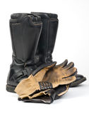Motorcycle Boots and Gloves. Royalty Free Stock Images