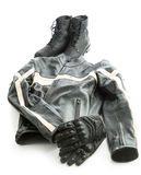 Motorcycle boots, jacket and gloves. Royalty Free Stock Photos