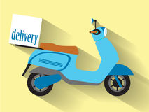 Motorcycle box transportation delivery shipping. Icon. Flat and Isolated design. Vector illustration Royalty Free Stock Image