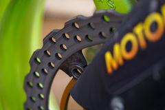 Motorcycle brake disc. Labeled MOTO  without focus Stock Images