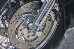 Motorcycle brake disc. Disc brake of a modern tourist motorcycle Royalty Free Stock Photo