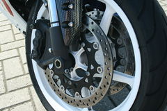 Motorcycle brake. With a tire royalty free stock image