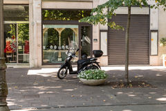 Motorcycle before business. In Salsomaggiore Royalty Free Stock Photography