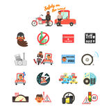 Motorcycle and Car Safety Drive Rules. Vector Illustration Set Royalty Free Stock Image