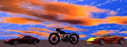 Motorcycle and cars Stock Image