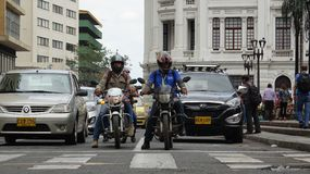 Motorcycle Cars Road Traffic Waiting At Crosswalk Stock Image