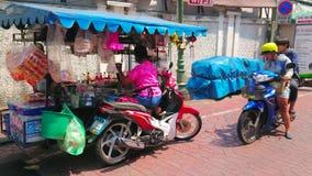 Motorcycle cart of drinks vendor, Bangkok, Thailand