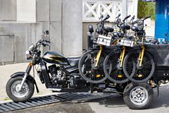 Motorcycle carts with rental bikes royalty free stock image
