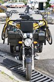 Motorcycle carts with rental bikes stock image