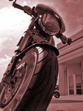 Motorcycle Centerfold. Upclose photo of a Italian Ducati Monster S2R Motorcycle in front of an Italian themed building Stock Photo