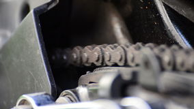 Motorcycle chain. Close up Motorcycle chain and rotary stock video