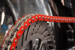 Motorcycle chain. And sprocket in detail Royalty Free Stock Image